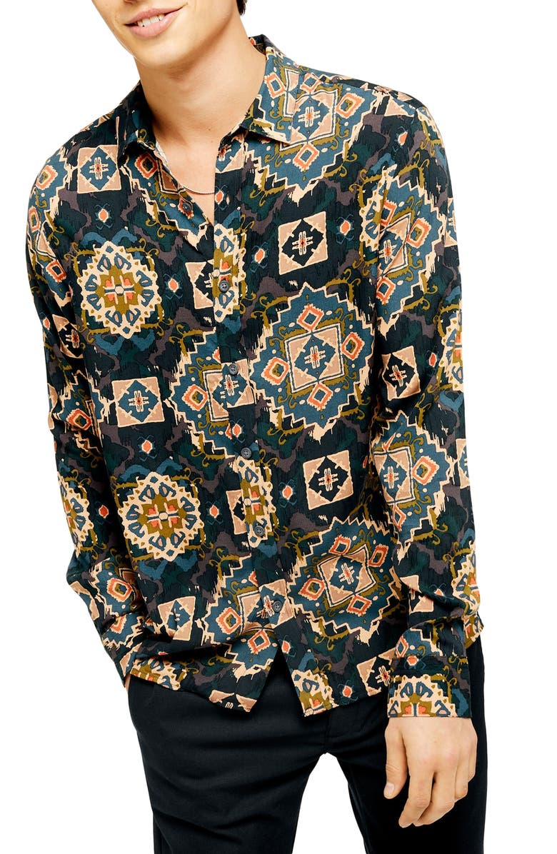 TOPMAN Slim Fit Ikat Tile Button-Up Shirt, Main, color, NAVY  MULTI