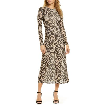 Bardot Zebra Print Long Sleeve Mesh Midi Dress, Black