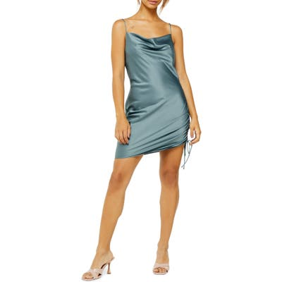 Topshop Ruched Satin Mini Slip Dress, US (fits like 14) - Blue