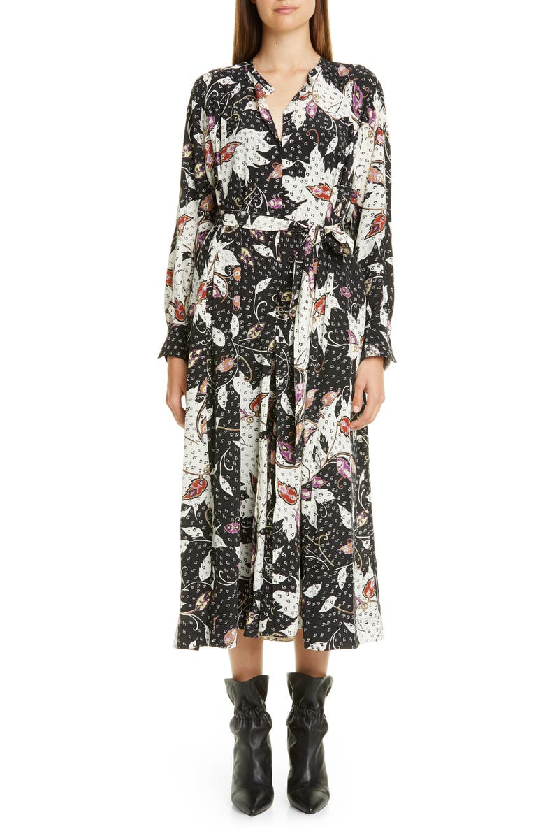 ISABEL MARANT Floral Print Stretch Silk Long Sleeve Midi Dress, Main, color, BLACK