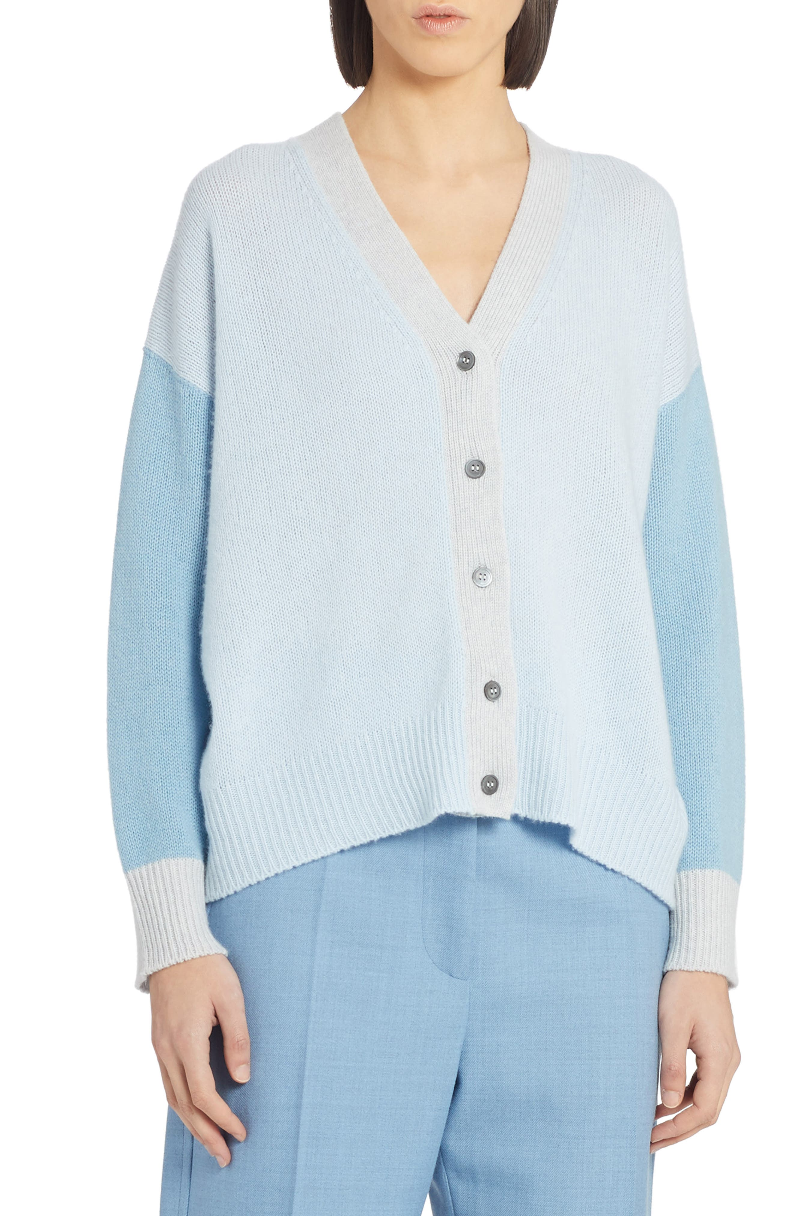 This lightweight yet cozy Italian-cashmere cardigan is given a quirky twist with a serene palette of cream and blues. Style Name: Marni Colorblock Cashmere Cardigan. Style Number: 6073154. Available in stores.