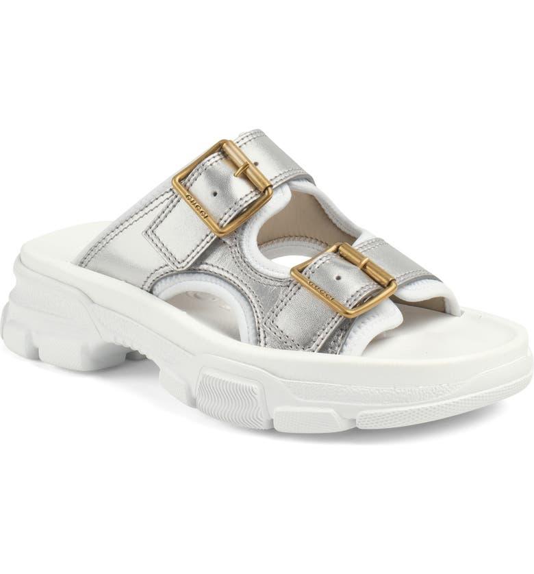 GUCCI Aguru Platform Slide Sandal, Main, color, WHITE/ SILVER