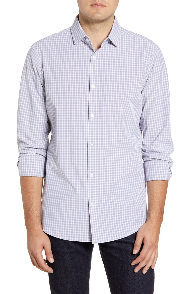 MIZZEN+MAIN Ryder Glen Trim Fit Plaid Button-Up Performance Sport Shirt, Main, color, 037