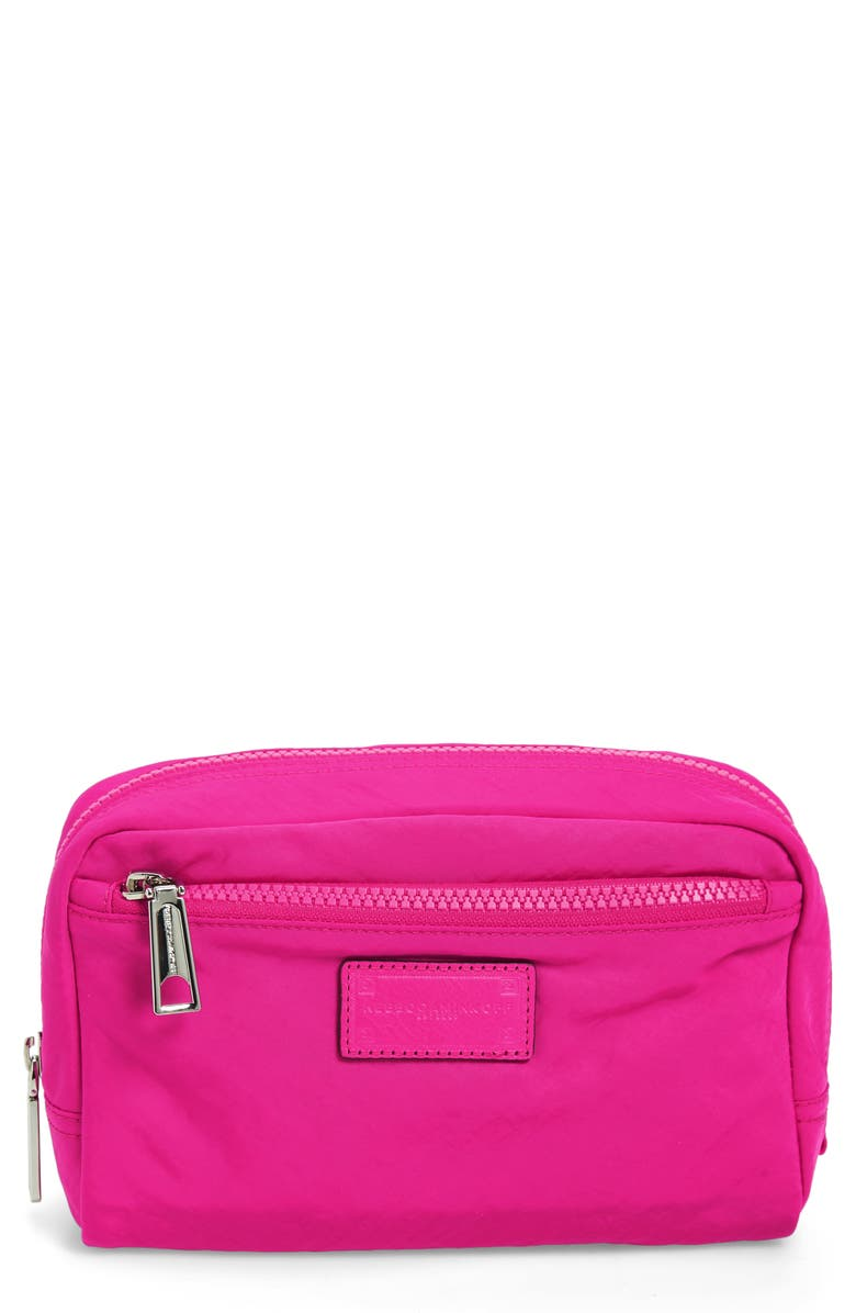 REBECCA MINKOFF Nylon Cosmetics Pouch, Main, color, MAGENTA