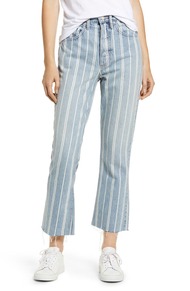 BOYISH JEANS The Darcy Stripe Super High Waist Crop Flare Jeans, Main, color, THEY MADE ME A CRIMINAL