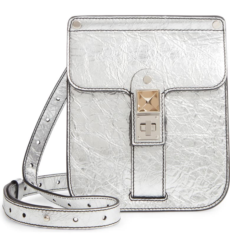 PROENZA SCHOULER PS11 Box Metallic Leather Crossbody Bag, Main, color, SILVER