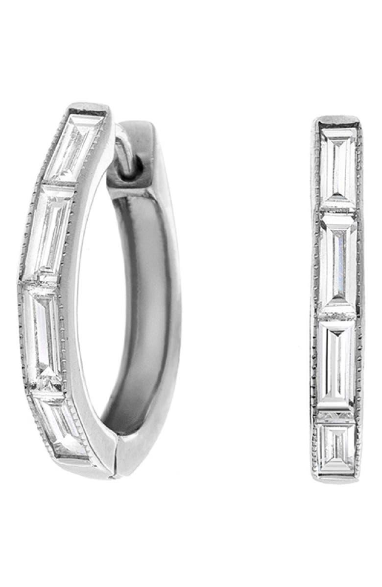 SETHI COUTURE Baguette Diamond Huggie Hoop Earrings, Main, color, WHITE GOLD/ DIAMOND