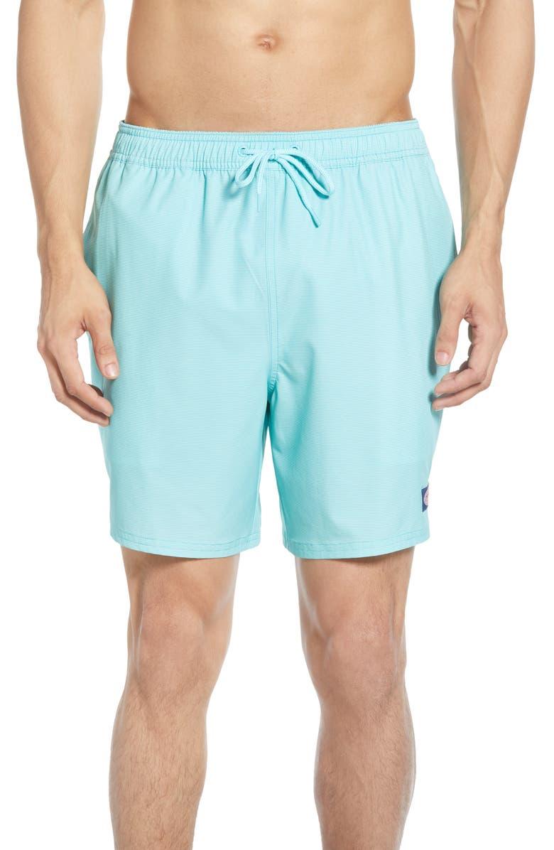 VINEYARD VINES Fine Line Stripe Chappy Swim Trunks, Main, color, FLATS BLUE