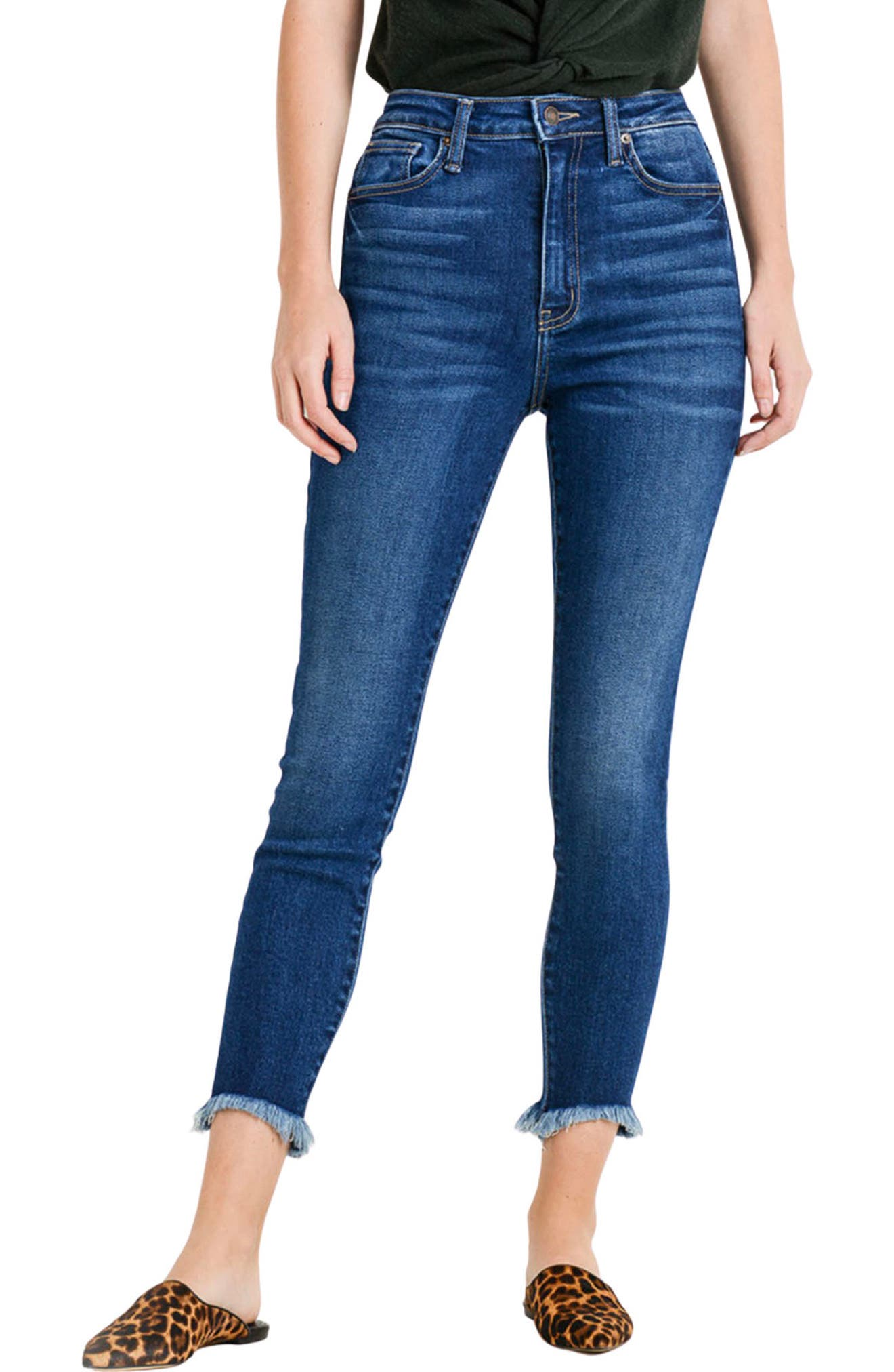 Amore Frayed Hem High Waist Ankle Skinny Jeans