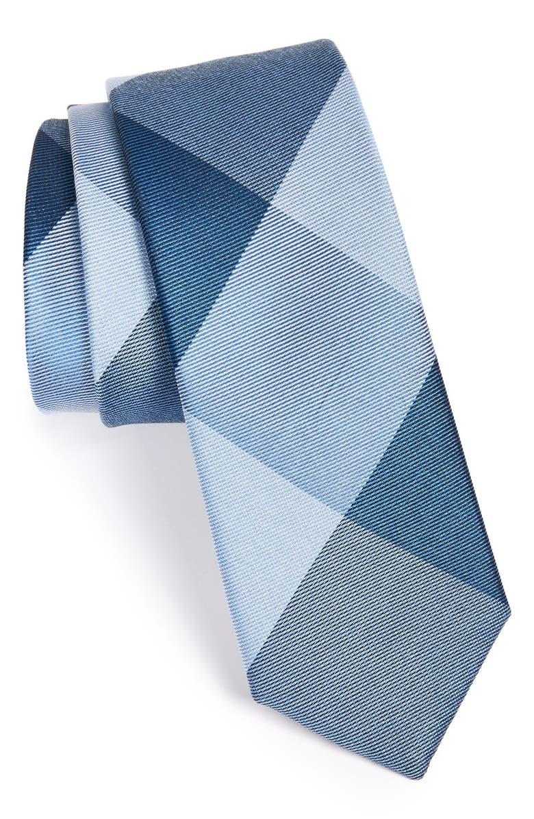 THE TIE BAR 'Bison' Silk Plaid Tie, Main, color, BLUES