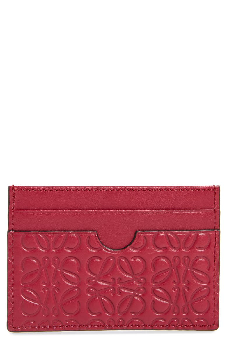 LOEWE Embossed Leather Card Case, Main, color, RASPBERRY