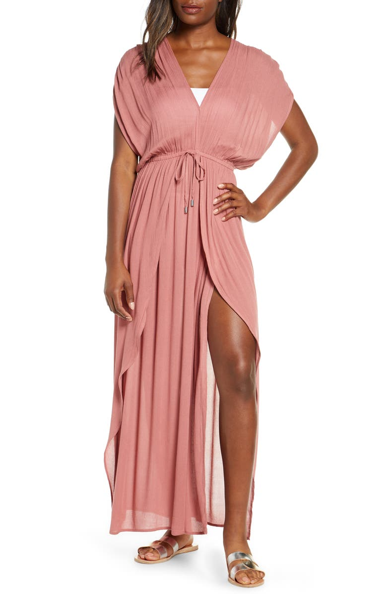 ELAN Wrap Maxi Cover-Up Dress, Main, color, MAUVE
