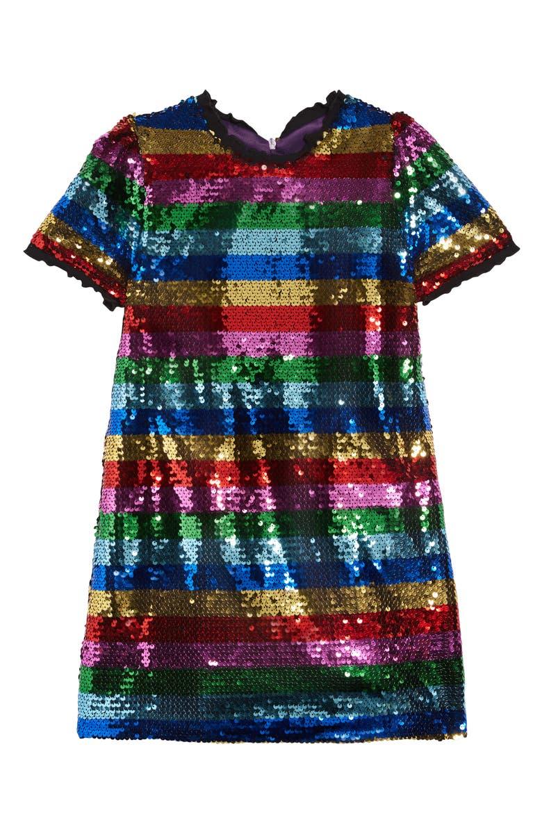LOLA & THE BOYS Chasing Rainbows Sequin Dress, Main, color, 001