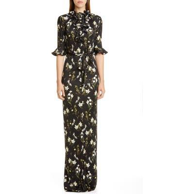Erdem Daffodil Print Ruffle Neck Column Gown, US / 10 UK - Black