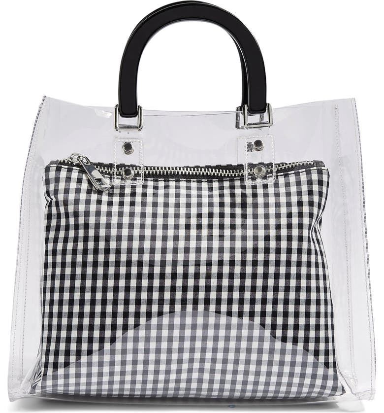 TOPSHOP Seanna Clear Gingham Tote Bag, Main, color, 100