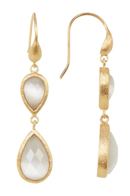 Image of Rivka Friedman 18K Gold Clad Faceted White Cat's Eye Crystal Double Teardrop Earrings
