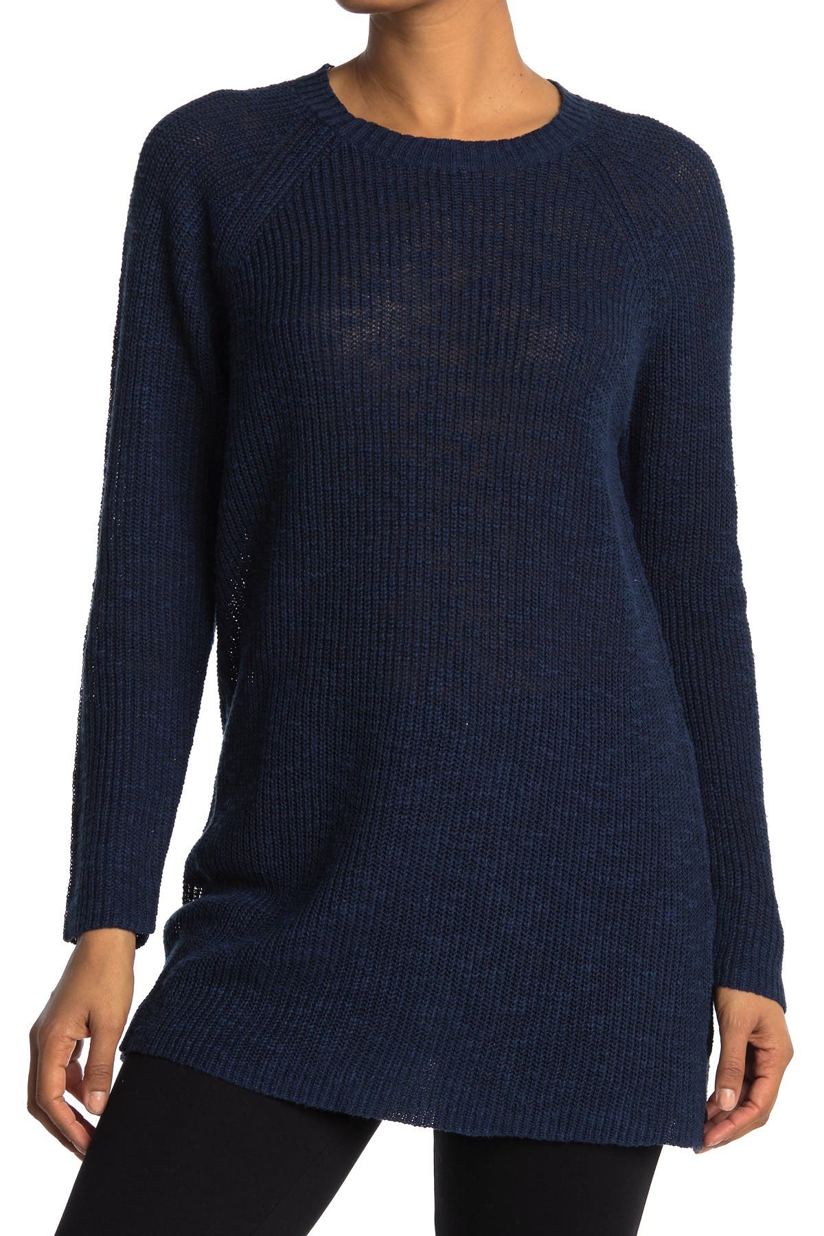 Image of Eileen Fisher Linen Blend Round Neck Tunic