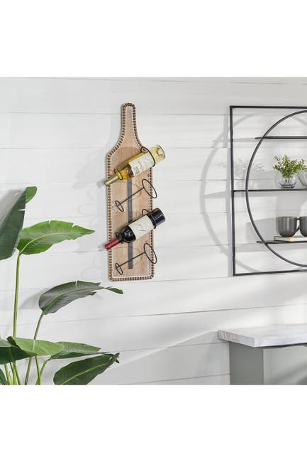 "Image of Willow Row Brown Wood Farmhouse Wine Holder - 32"" x 9"" x 5"""