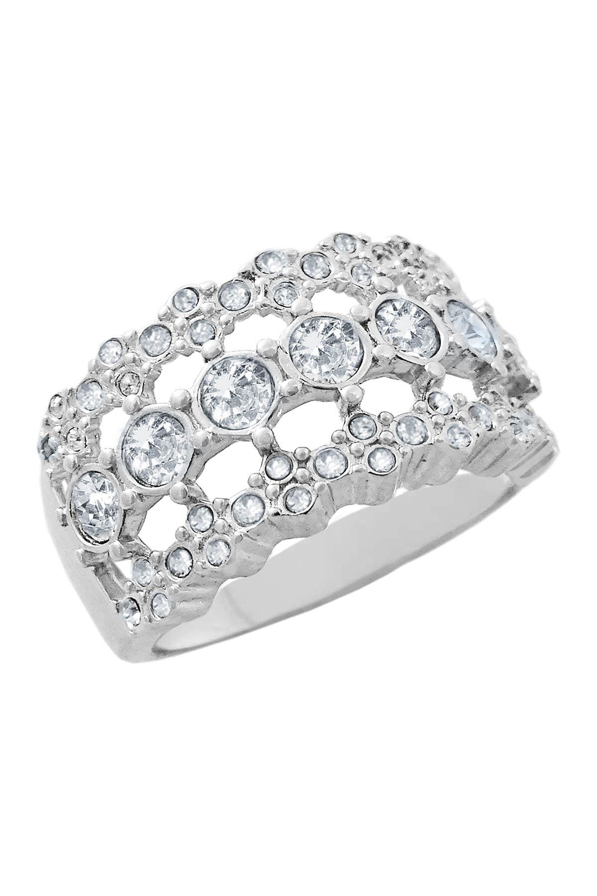 Image of Savvy Cie Sterling Silver Wide 3 Row Crystal Band Ring