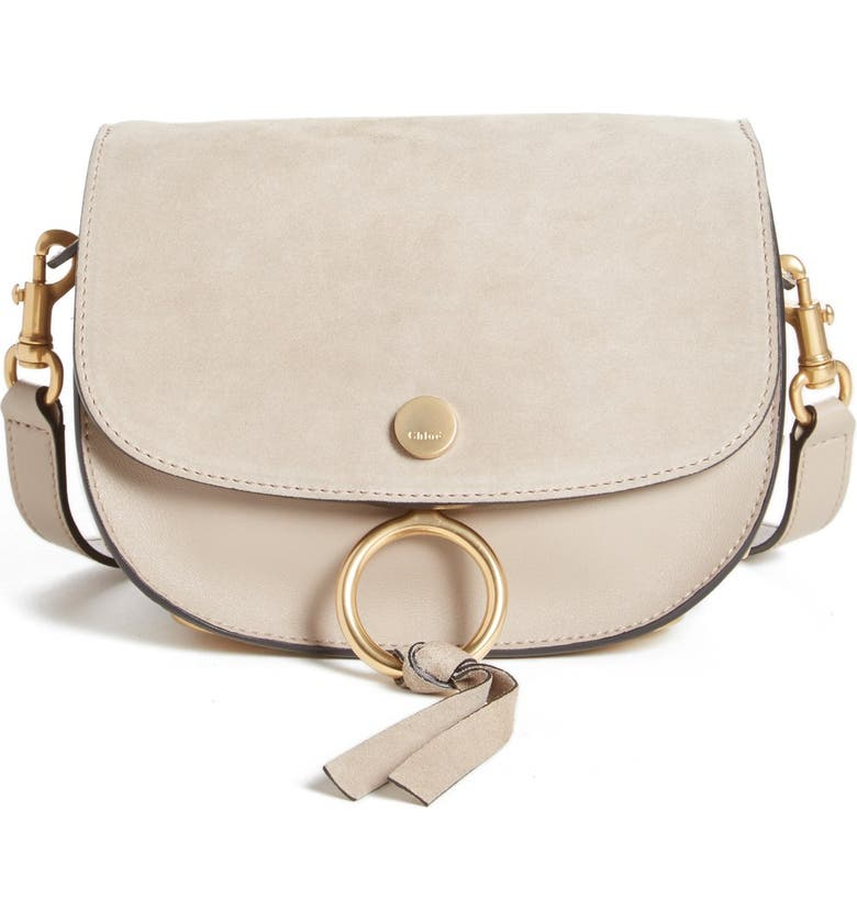 CHLOÉ 'Mini Kurtis' Suede & Leather Shoulder Bag, Main, color, 031