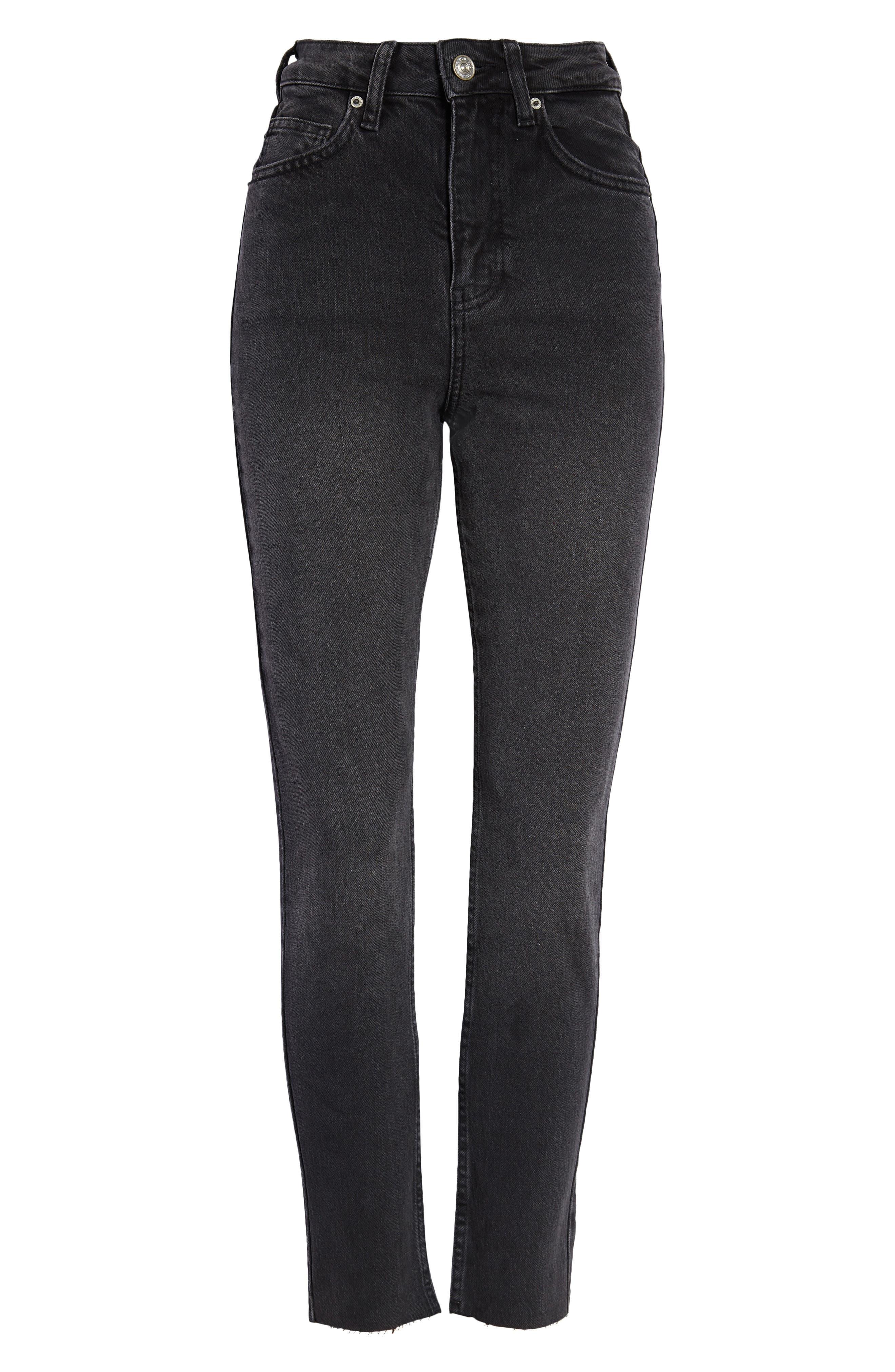 Edie Super High Waist Raw Hem Slim Jeans