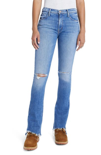 Mother Denims THE RUNAWAY STEP FRAY HEM BOOTCUT JEANS