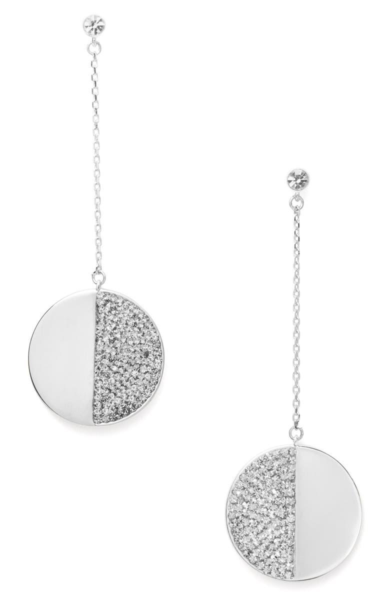 KATE SPADE NEW YORK mod scallop pavé linear earrings, Main, color, CLEAR