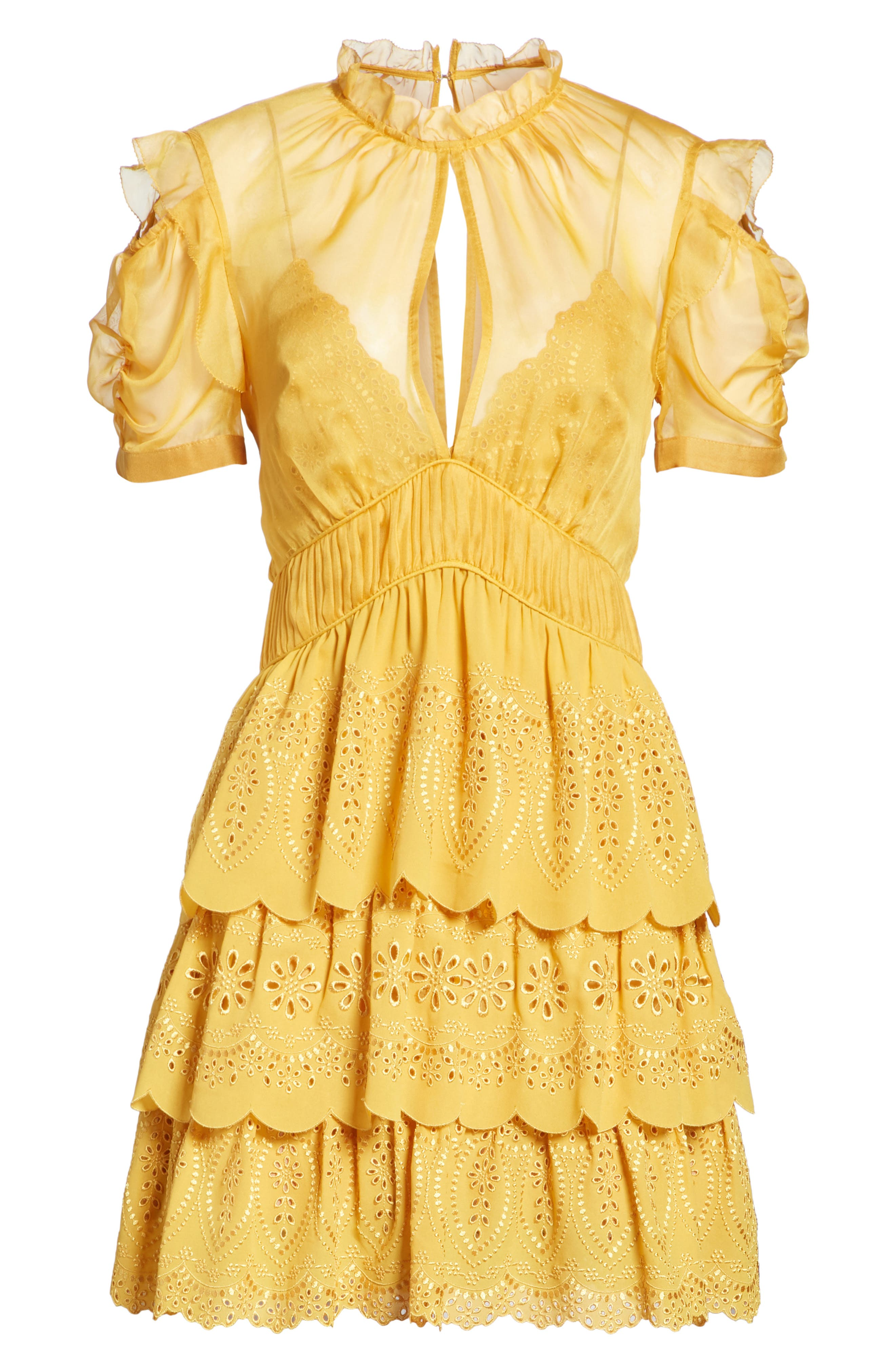 ,                             Chiffon & Broderie Anglaise Dress,                             Alternate thumbnail 7, color,                             700
