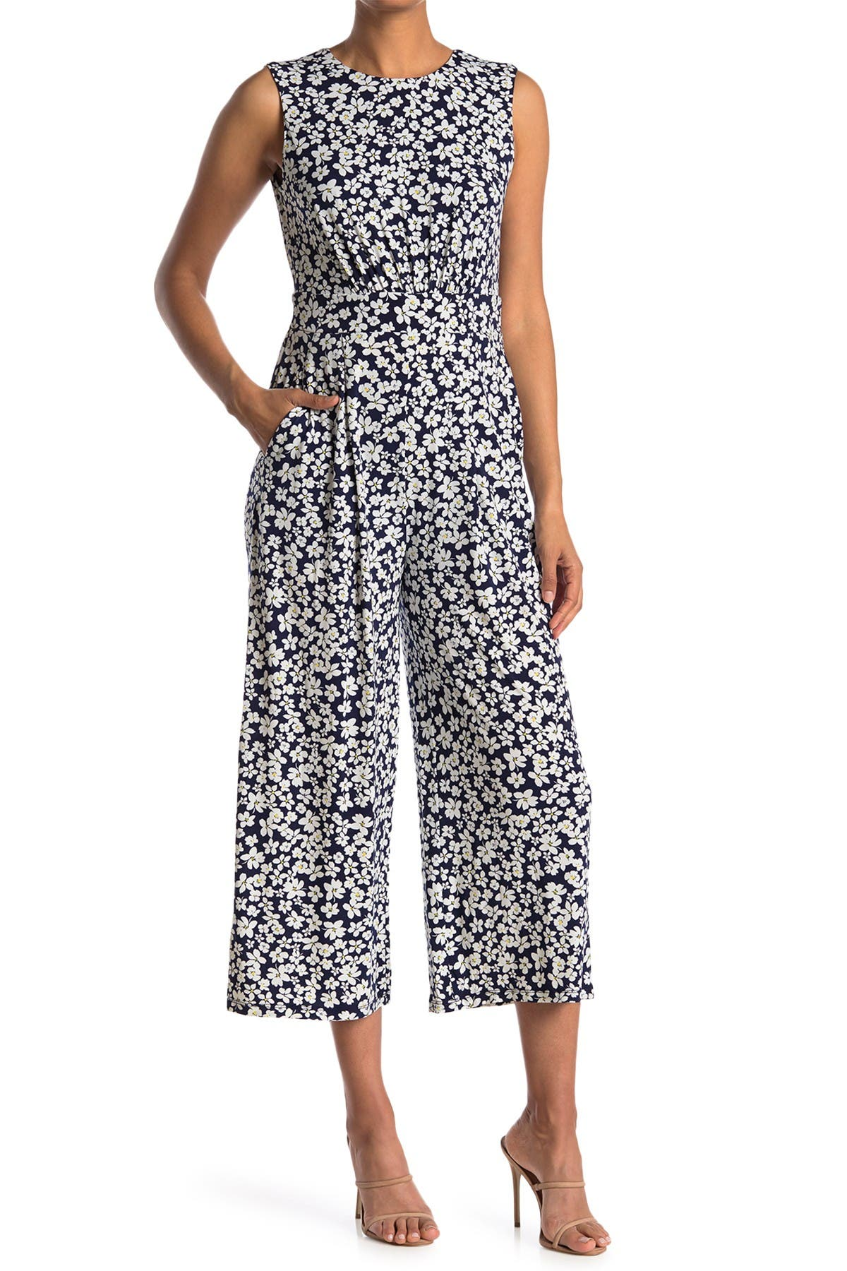 Image of London Times Ditsy Print Inset Waist Jumpsuit