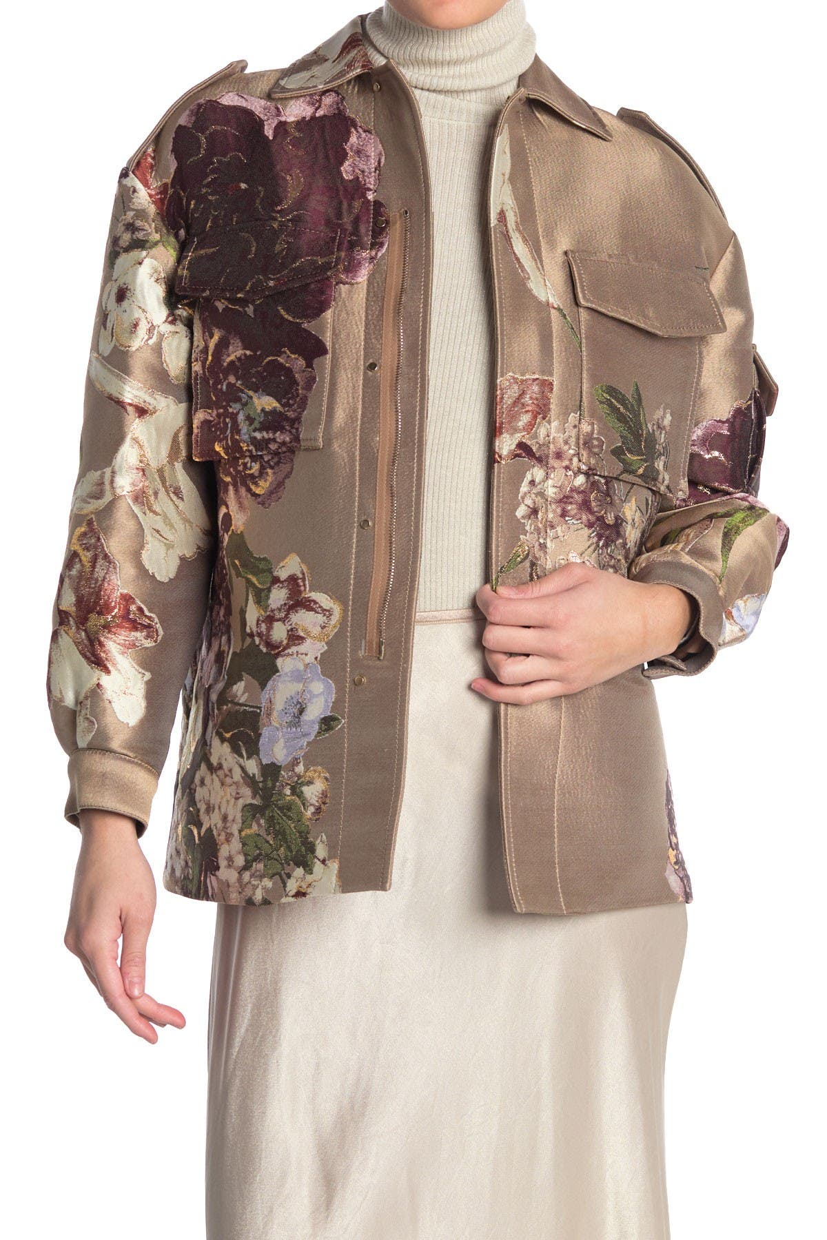 Image of Valentino Floral Silk Zip Front Jacket