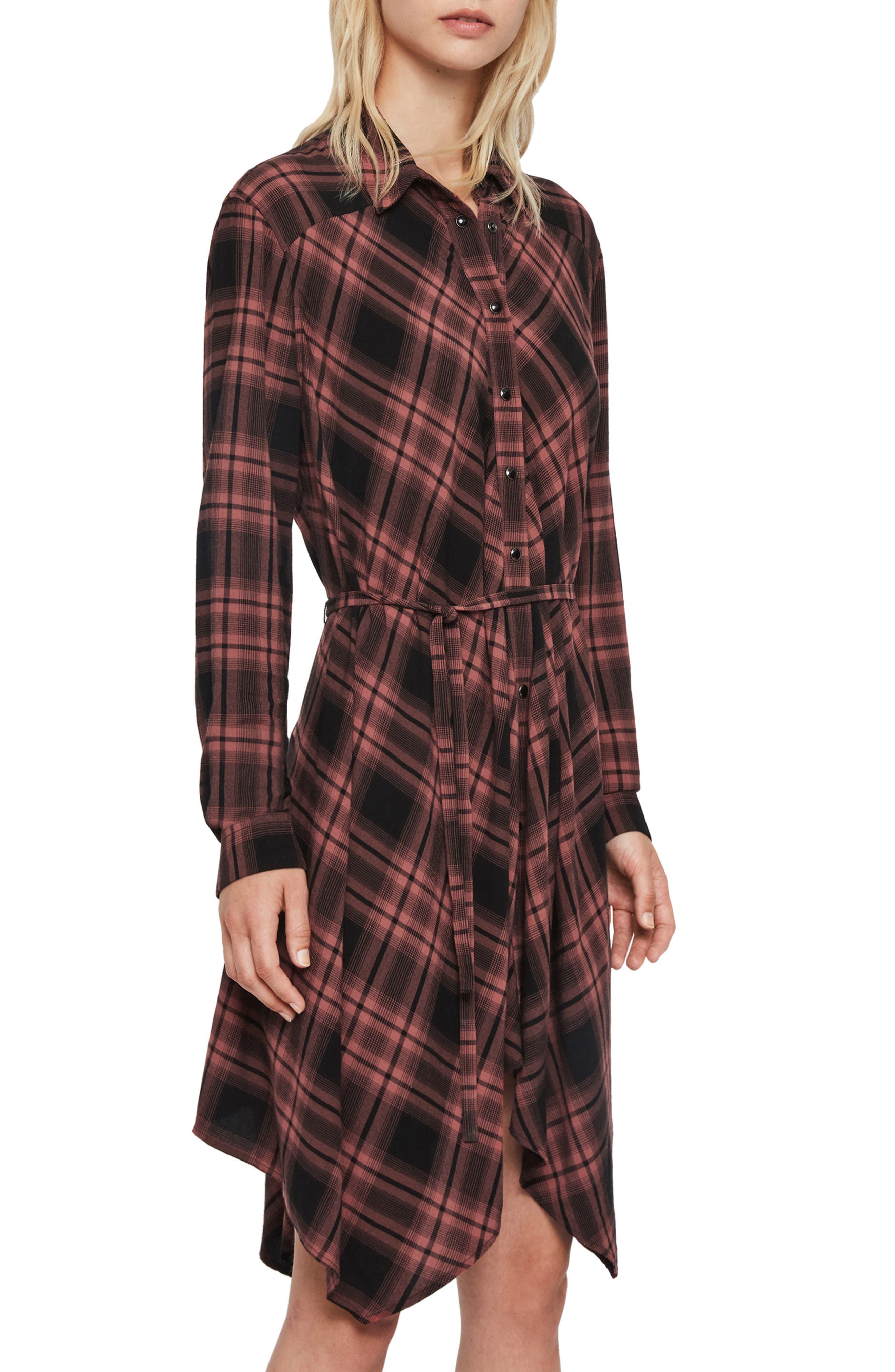 Allsaints Dresses Tala Check Long Sleeve Handkerchief Hem Dress