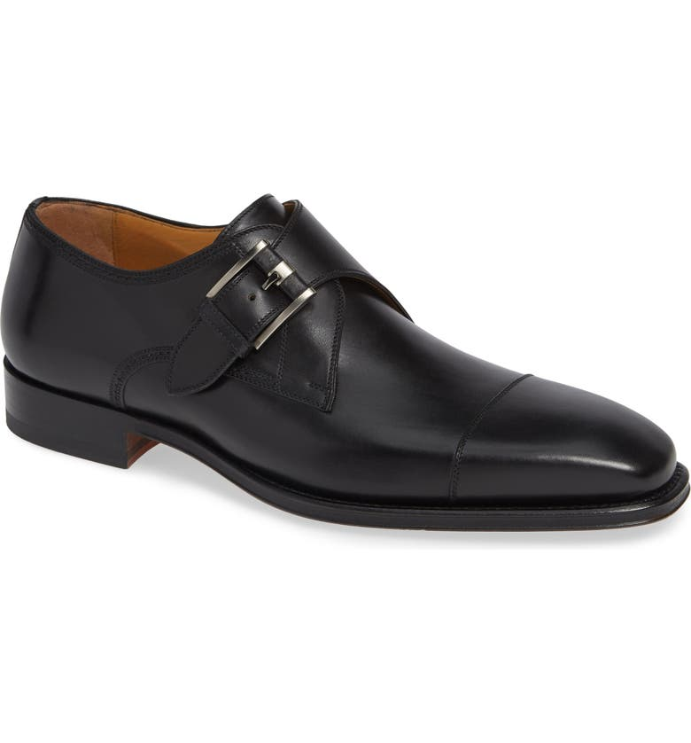 MAGNANNI Lennon Monk Strap Shoe, Main, color, BLACK LEATHER
