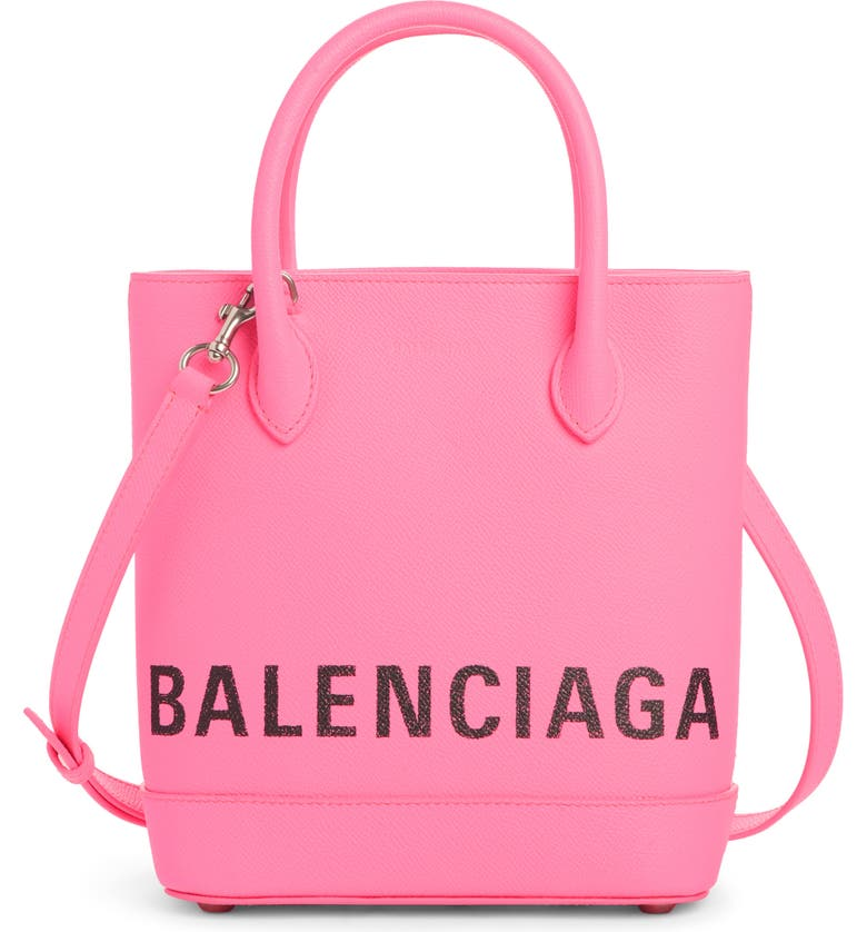 BALENCIAGA Extra Small Ville Logo Leather Tote, Main, color, ACID PINK/ BLACK