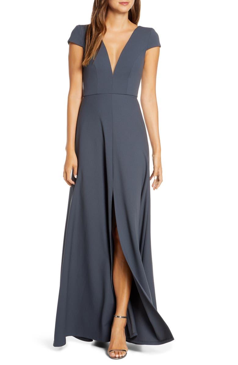 JENNY YOO Cara Deep V-Neck Evening Dress, Main, color, STORM