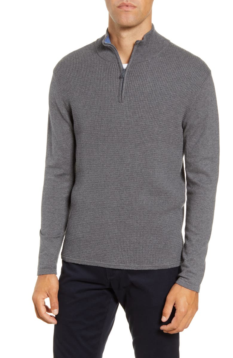 ZACHARY PRELL Higgins Quarter Zip Sweater, Main, color, PEWTER