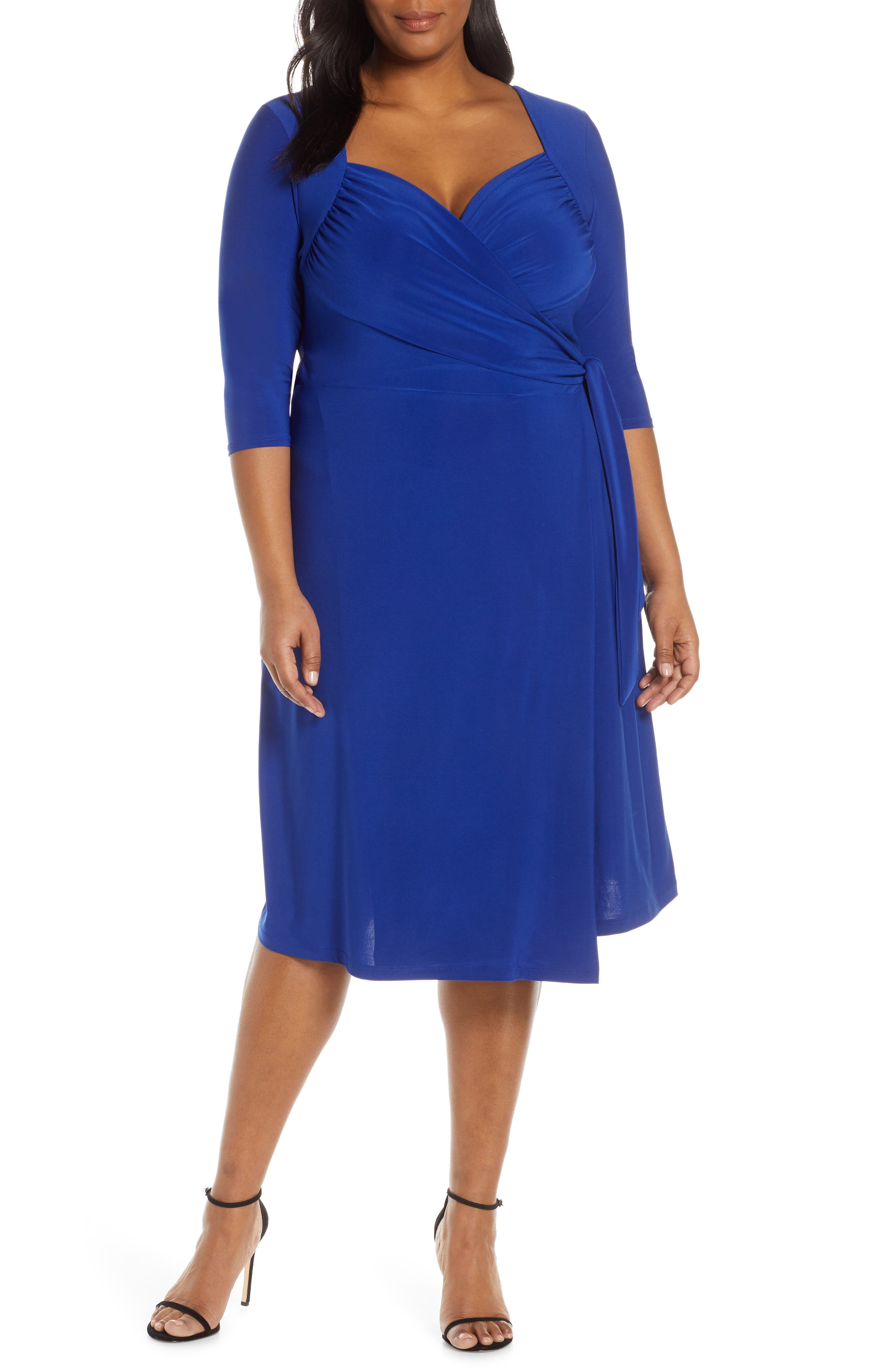 1940s Clothing Plus Size Womens Kiyonna Sweetheart Neck Wrap Dress Size 5X - Blue $88.00 AT vintagedancer.com