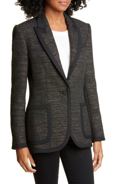 Equipment Bodanne Contrast Detail Tweed Jacket In True Black Multi