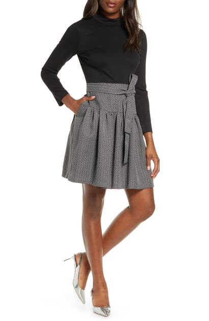 Eliza J Long Sleeve Fit & Flare Dress In Black
