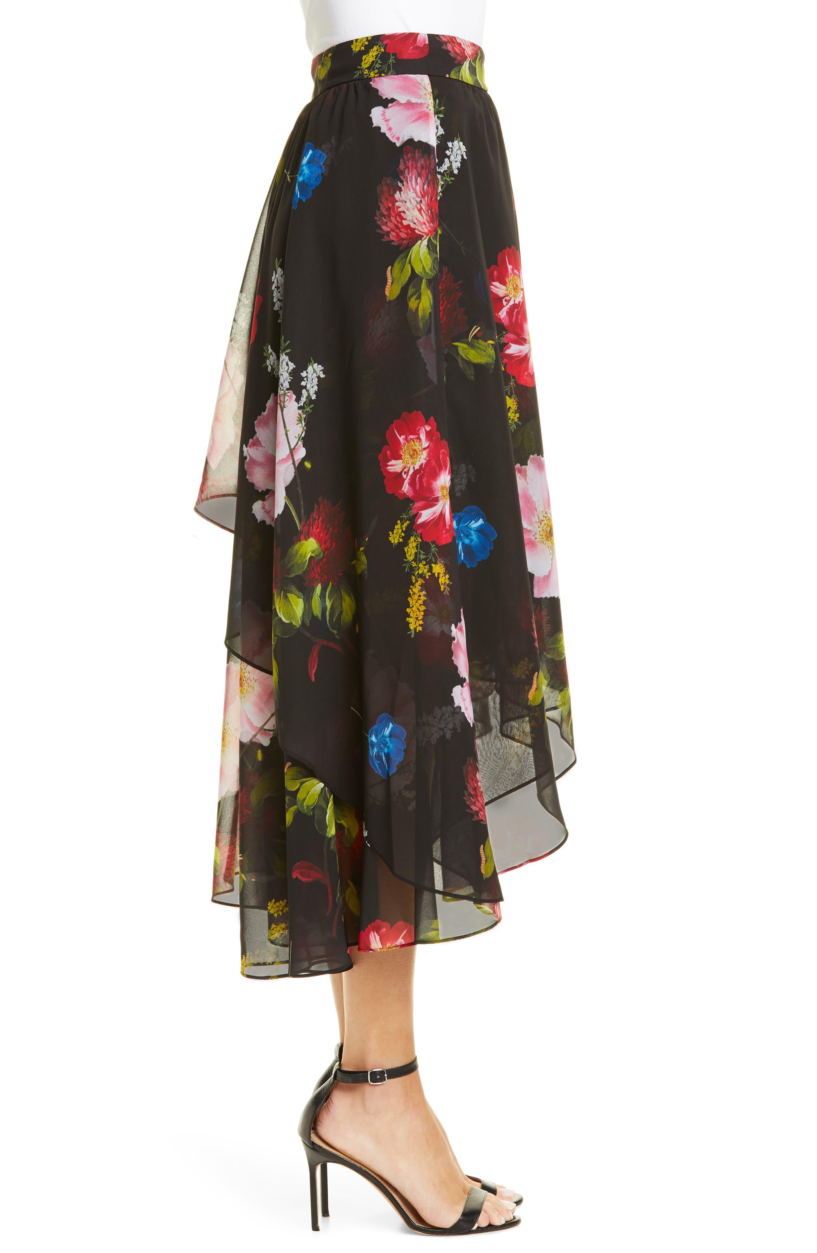 ,                             Ritta Floral Ruffle Midi Skirt,                             Alternate thumbnail 3, color,                             BLACK