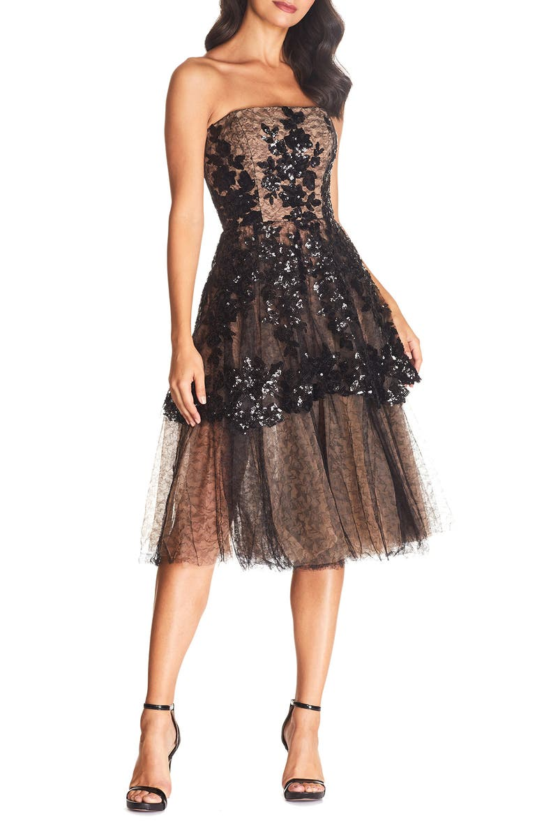 DRESS THE POPULATION Fae Fit & Flare Gown, Main, color, 001