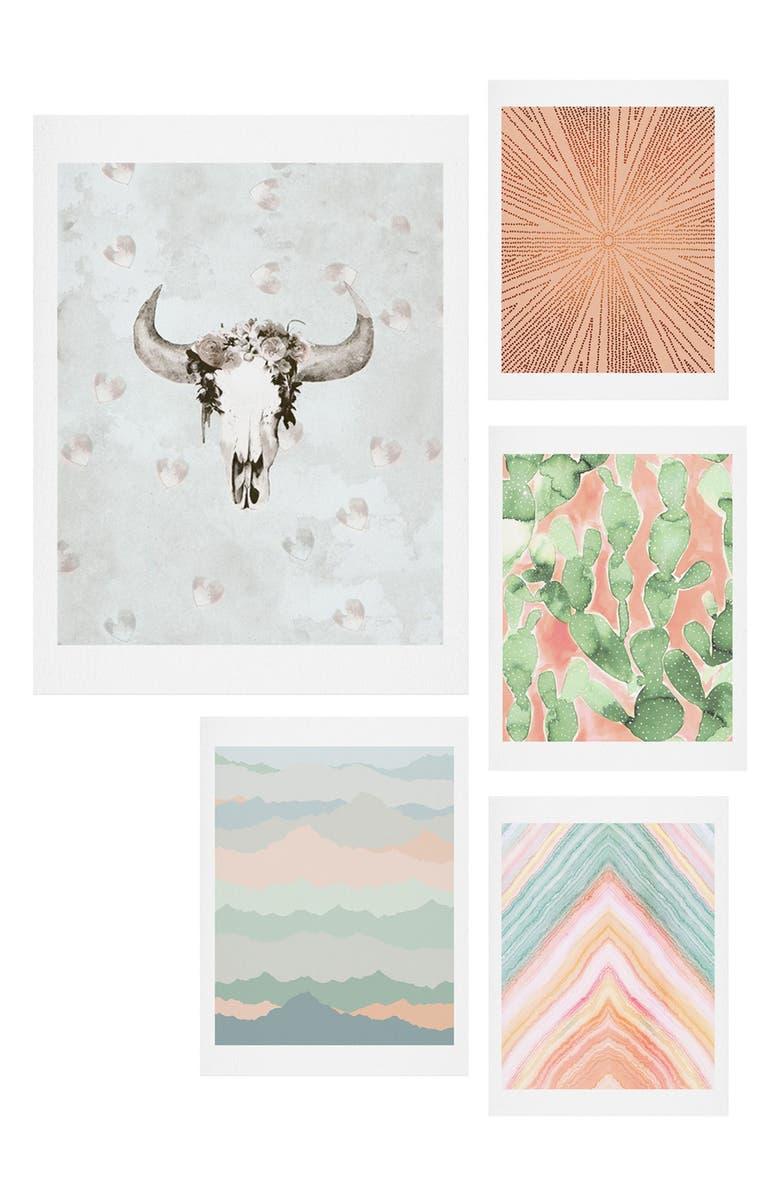 DENY DESIGNS Desert Matcha Five-Piece Gallery Wall Art Print Set, Main, color, BLUSH AND GREEN