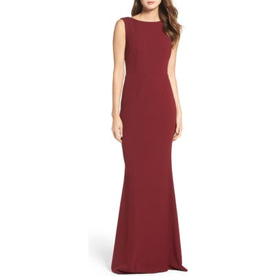 Katie May Vionnet Drape Back Crepe Gown, Burgundy