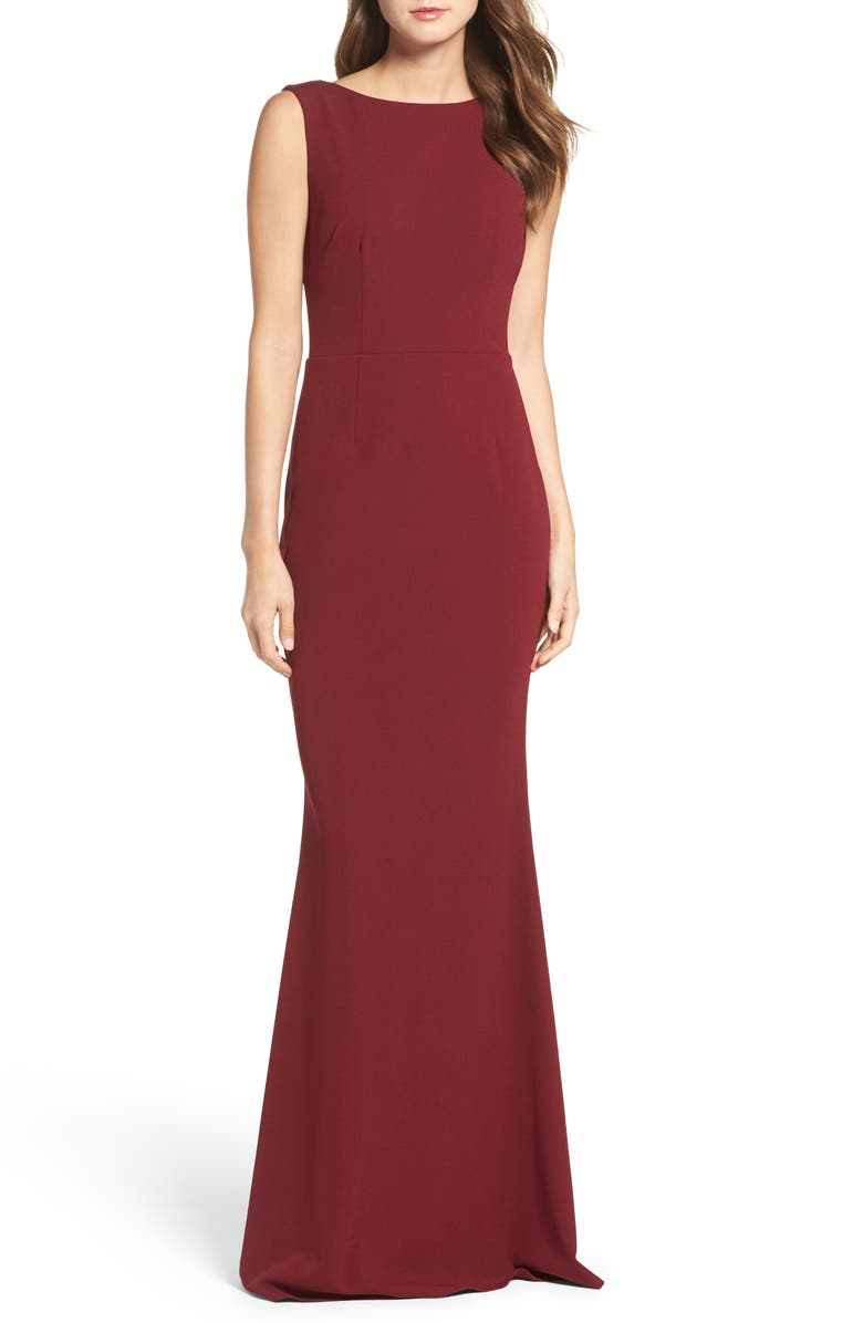 KATIE MAY Vionnet Drape Back Crepe Gown, Main, color, BORDEAUX