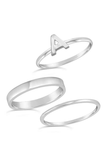 Image of Sterling Forever Sterling Silver Initial Ring - Set of 3 - A