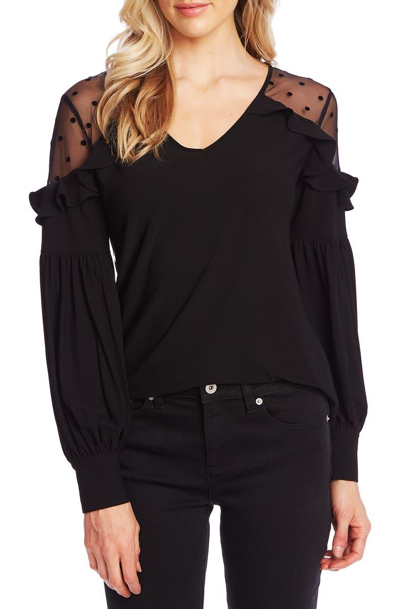 CECE Velvet Dot Detail Long Sleeve Top, Main, color, RICH BLACK