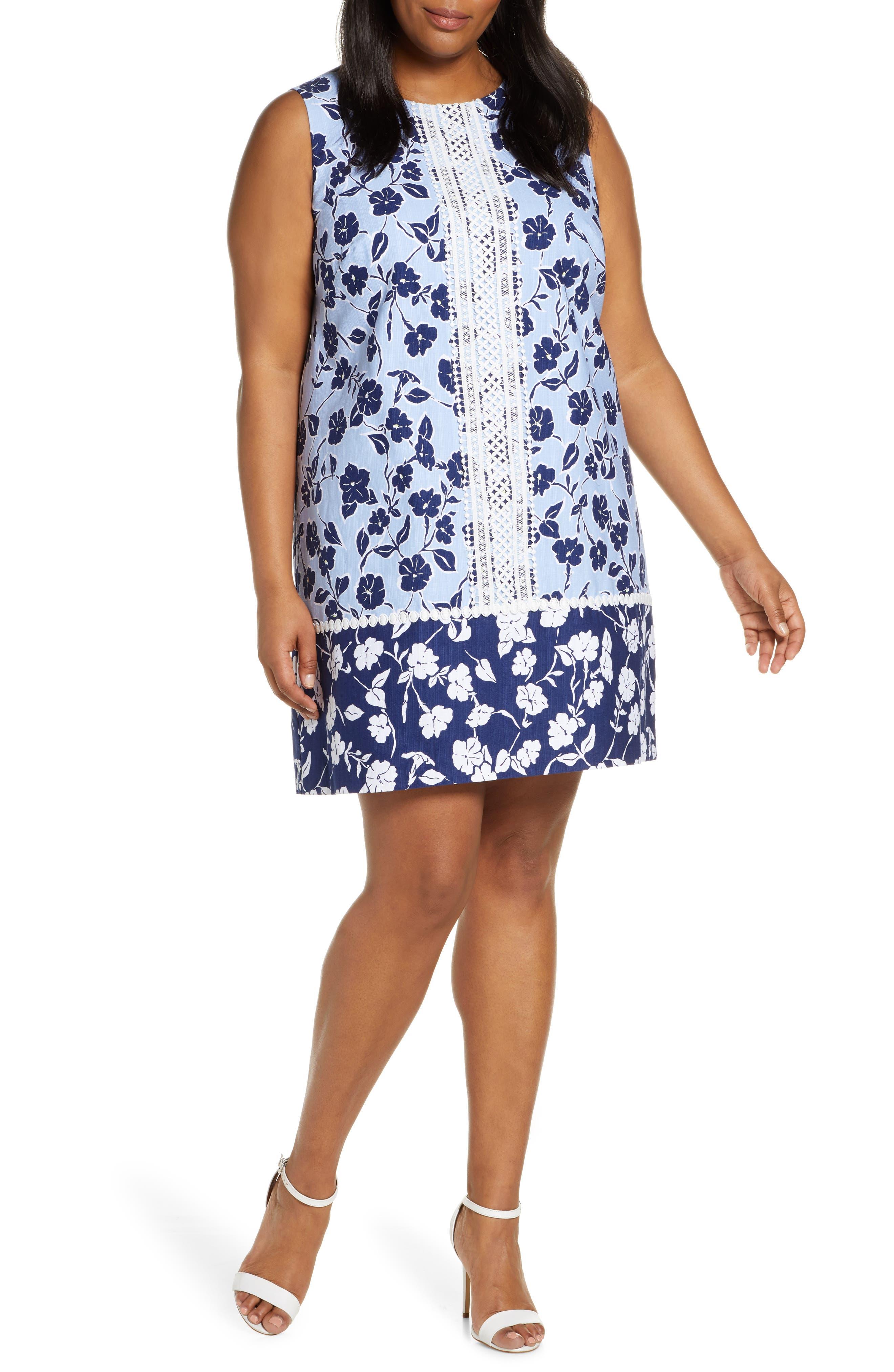 Plus Size Eliza J Sleeveless Lace Trim Floral Shift Dress, Blue