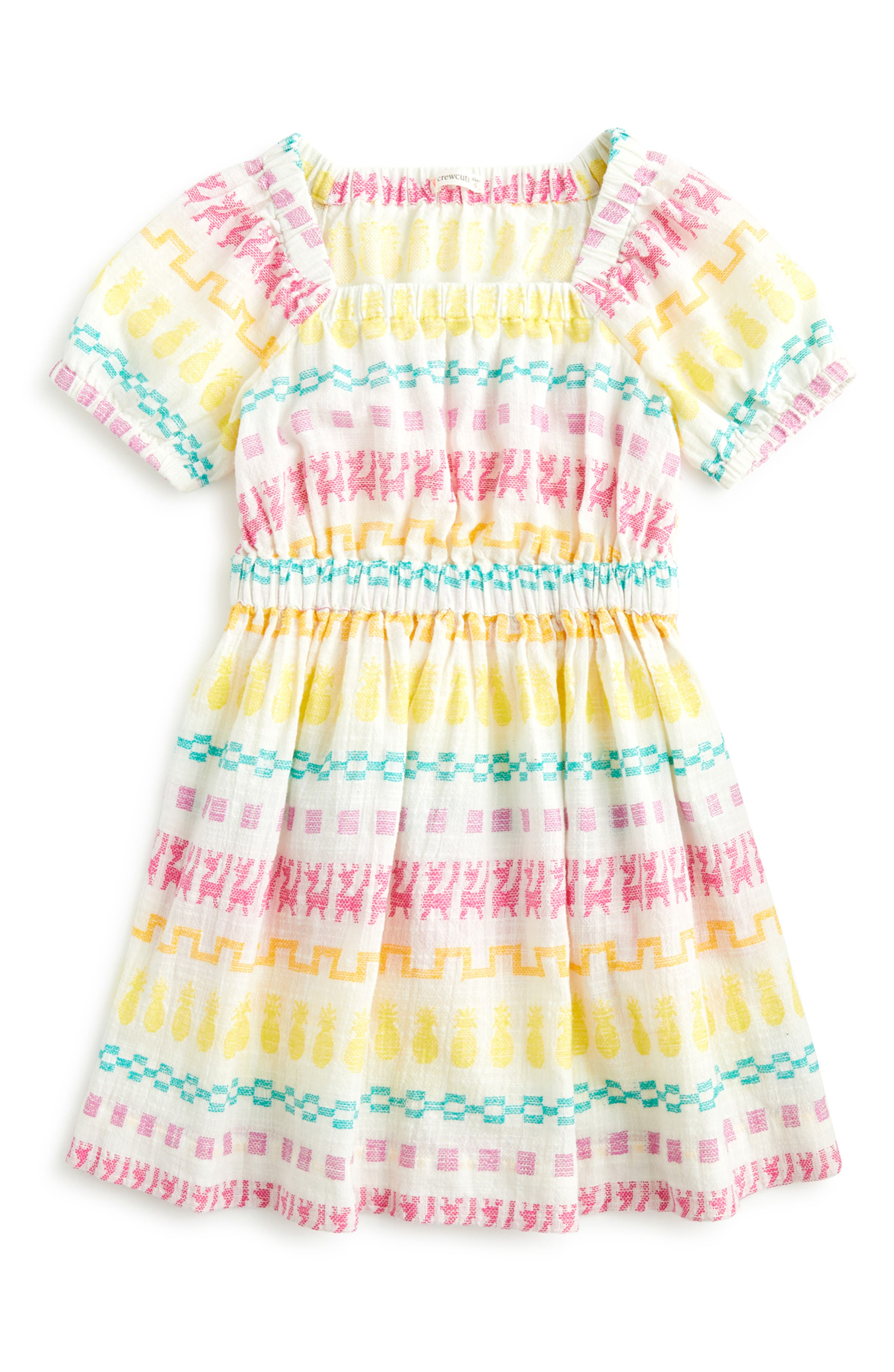 Girls Crewcuts By Jcrew Embroidered Square Neck Dress Size 6  Ivory