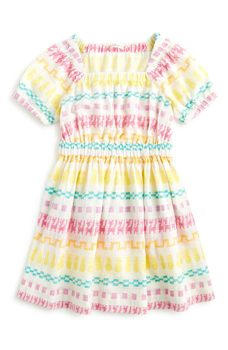 CREWCUTS BY J.CREW Embroidered Square Neck Dress, Main, color, MULTI DOBBY
