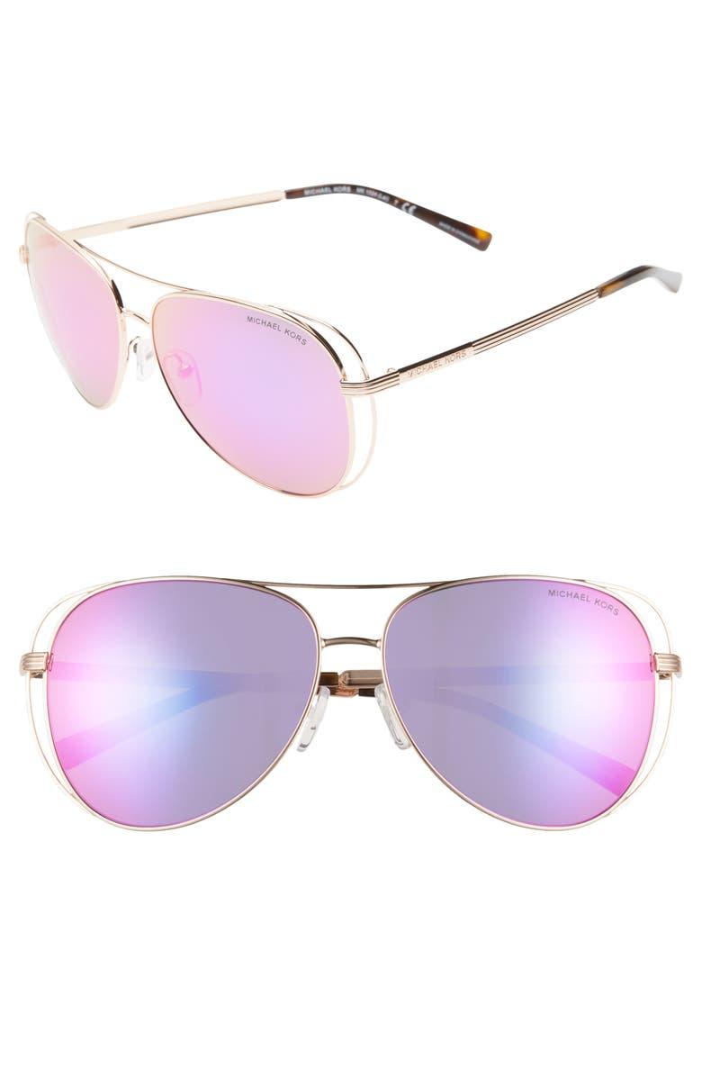 MICHAEL KORS 58mm Aviator Sunglasses, Main, color, GOLD/ FUCHSIA MIRROR
