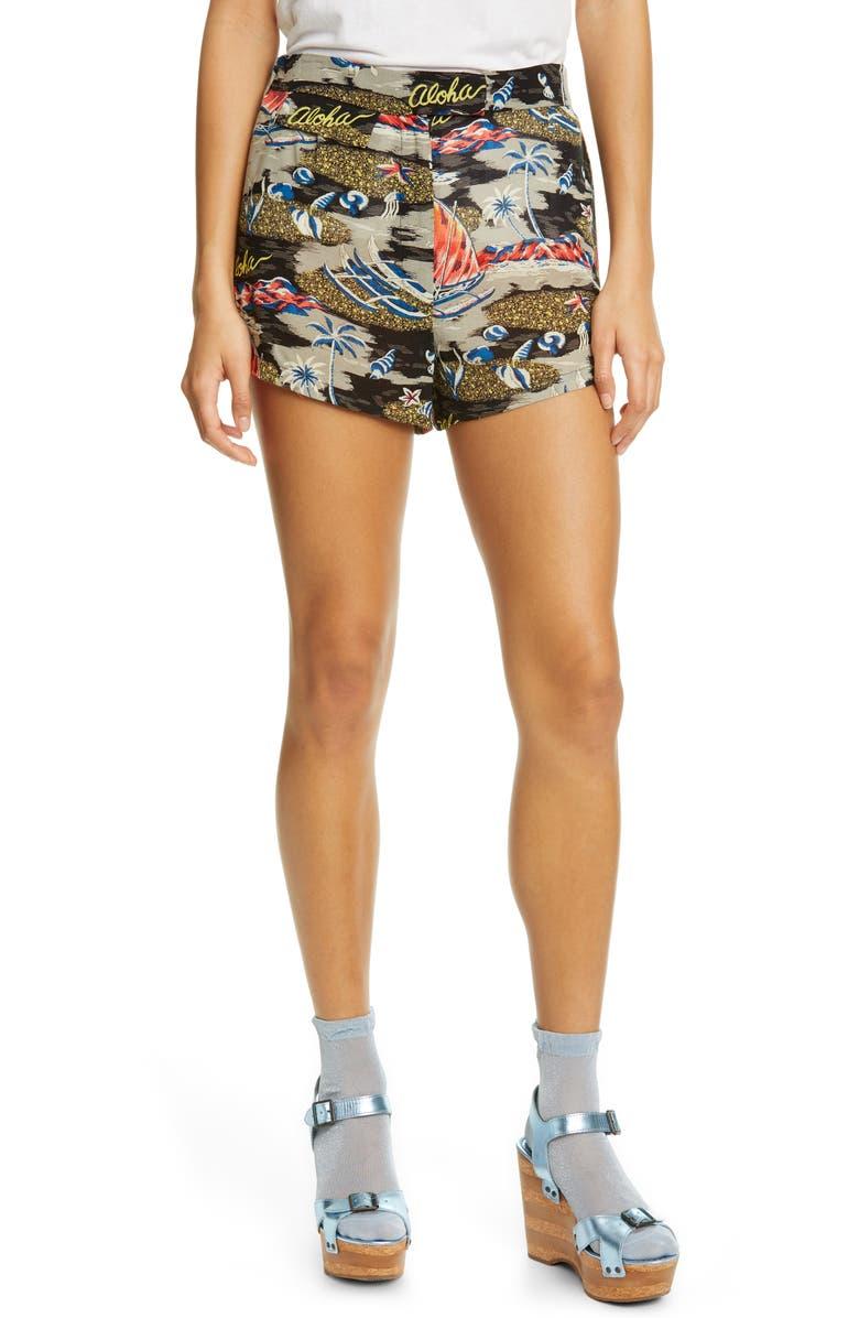 ANNA SUI Aloha Print Shorts, Main, color, 001
